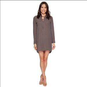 NWT 1 State olive green rayon lace up shirt dress